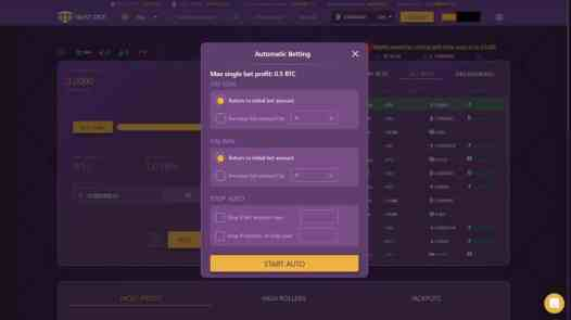 Trustdice Autobet Settings