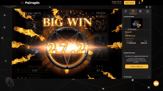 One of the wins from my free spins