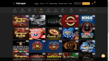 Fairspin's range of roulette games
