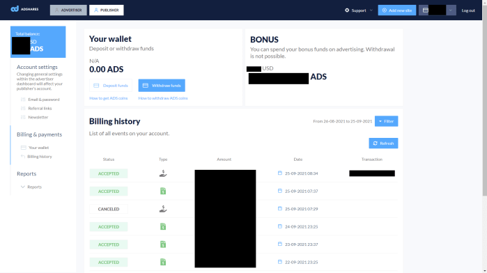 Adshares withdrawal screen