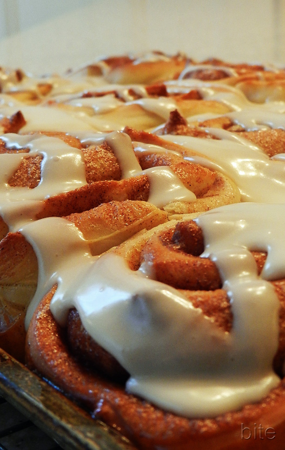 fast cinnamon buns with icing