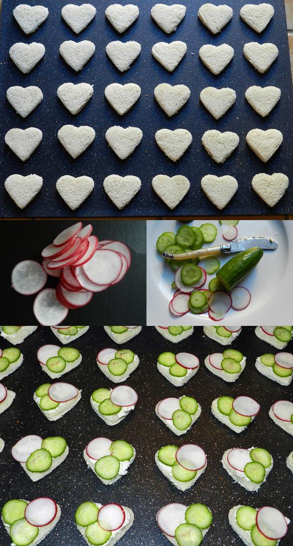 radish, cucumber and herbed boursin tea sandwiches