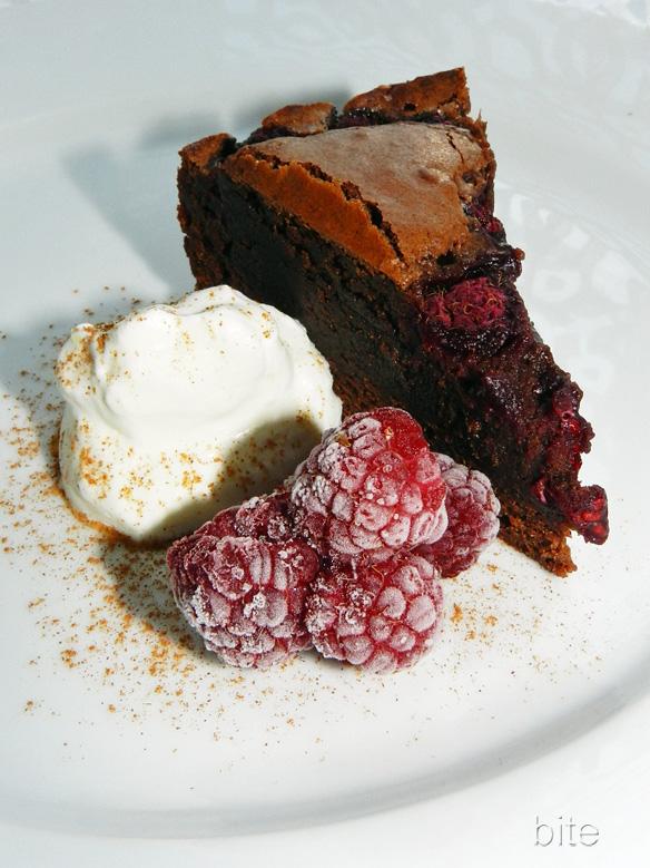 raspberry laced bittersweet chocolate cinnamon brownies