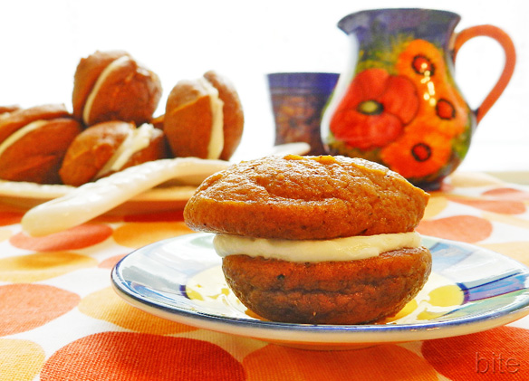 mini pumpkin whoopie pies with maple cream and the first snowfall