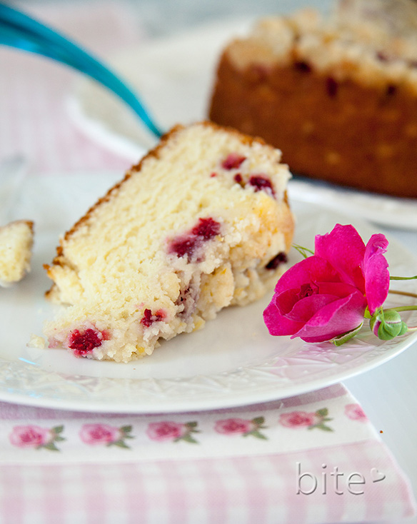 fresh raspberry streusel cake and a confession
