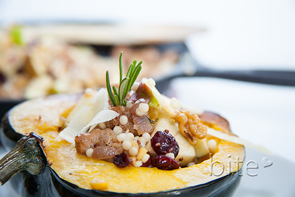 Sausage and Quinoa stuffed Acorn Squash with Autumn Chunks
