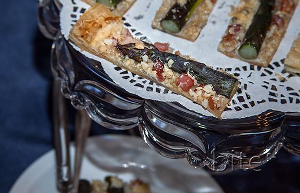 Purple Aspargus Pancetta and Gorgonzola Tart Slices