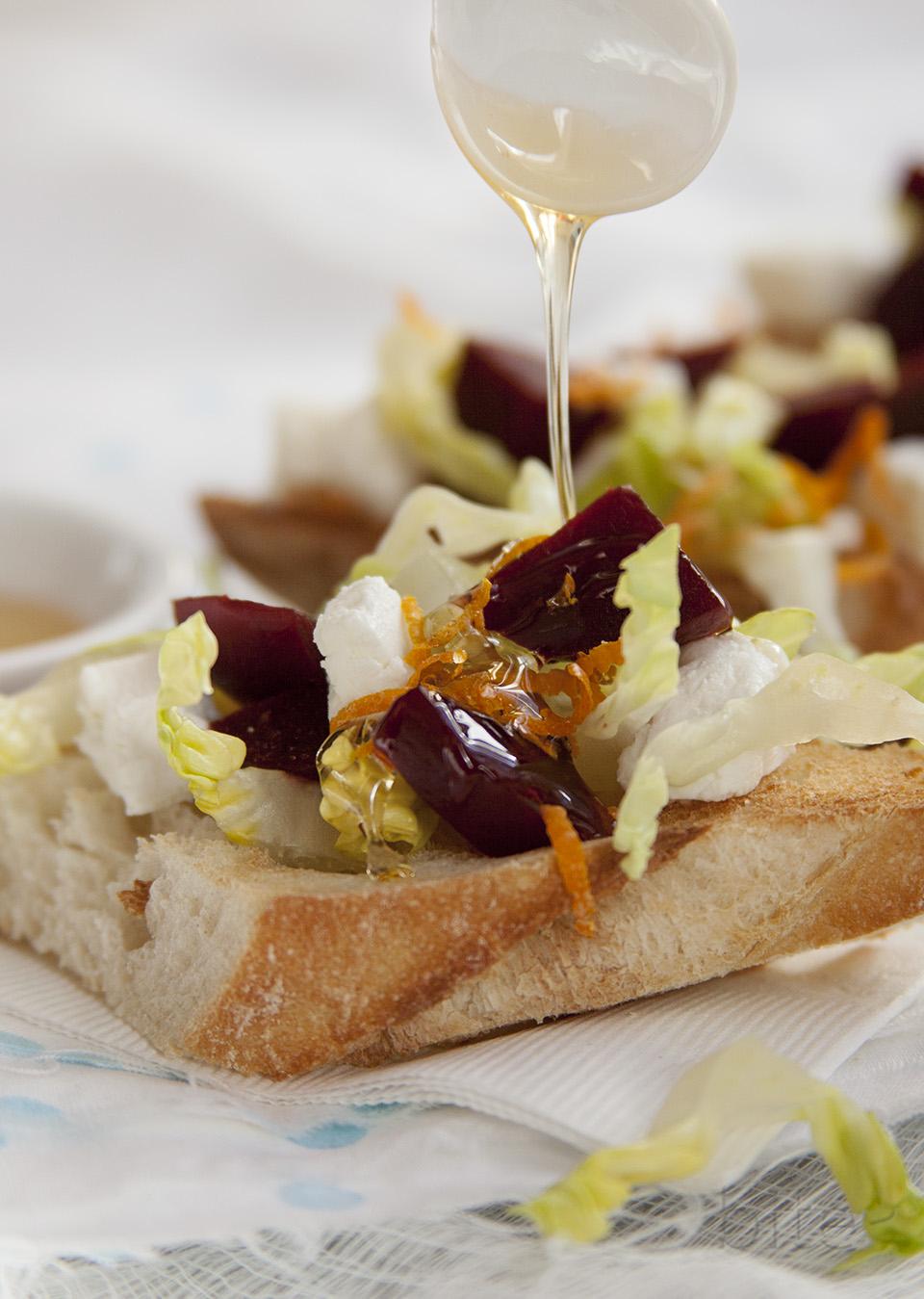 pickled beet, chevre and orange tartines drizzled with wild flower honey / bitebymichelle.com