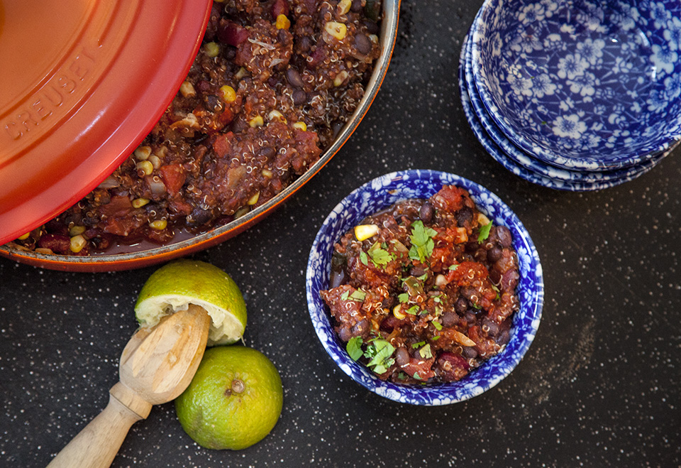 quinoa vegan chili – super easy and meat eaters love it!