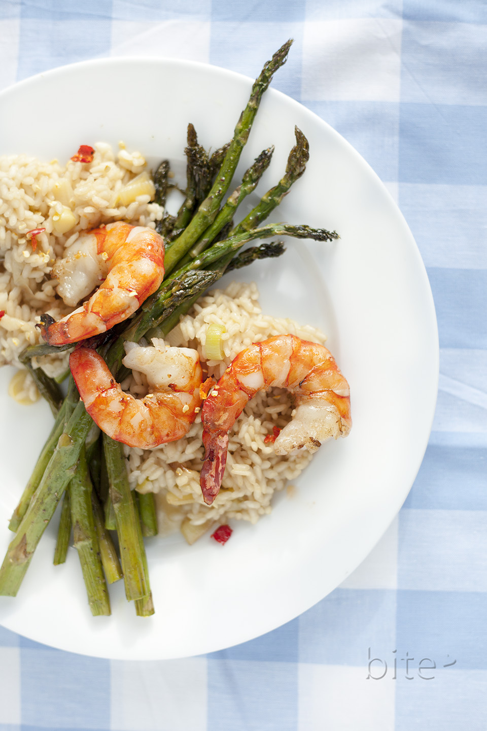 Spring Asparagus and Tiger Shrimp Risotto C