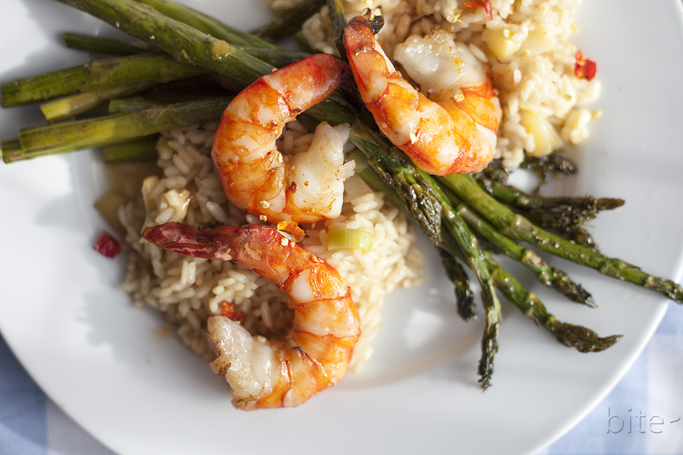 Asparagus and Jumbo Shrimp Risotto / bitebymichelle.com