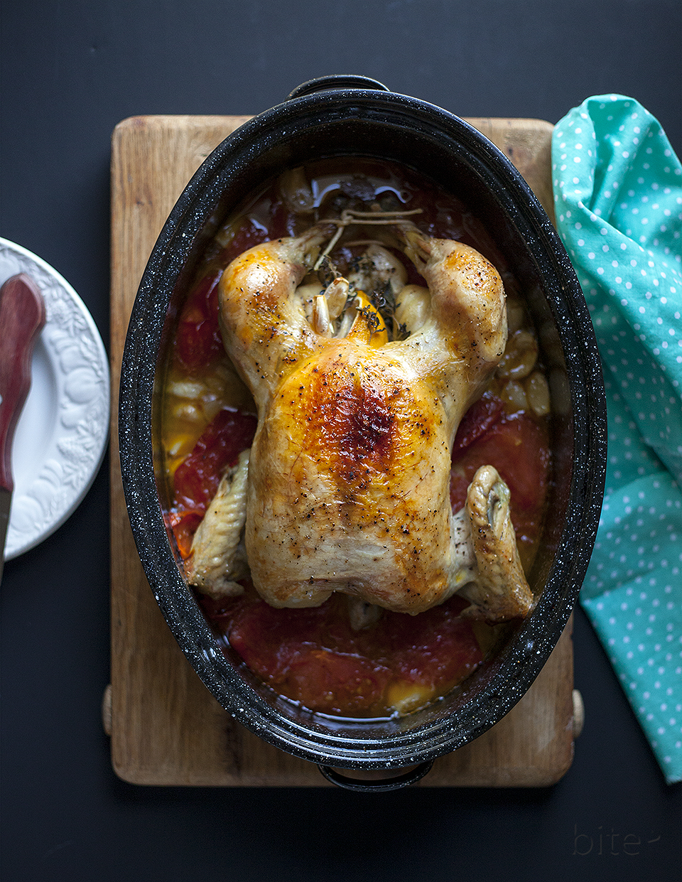 Forty Clove Chicken with Tomatoes, Oregano and Lemon