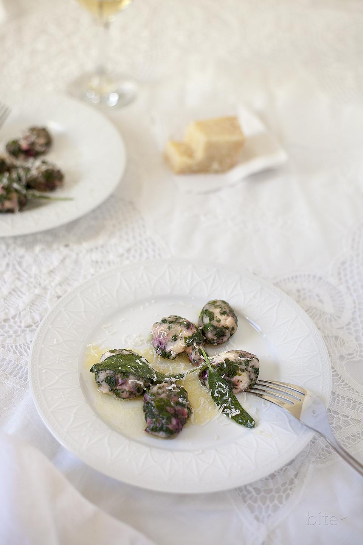 naked ravioli with homemade ricotta and beet greens