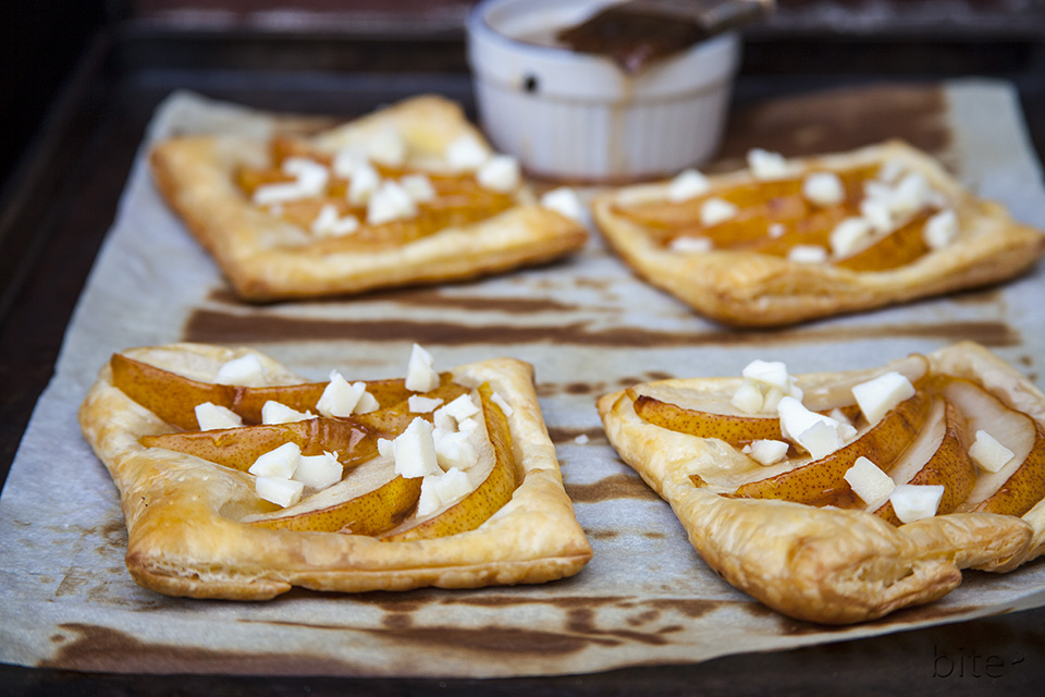 Apple Glazed Pear and Cheddar Tarts