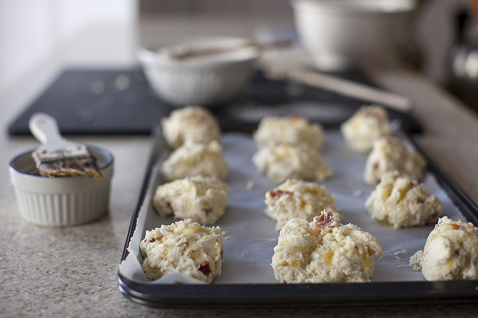 bacon and feta drop biscuits / bitebymichelle.com