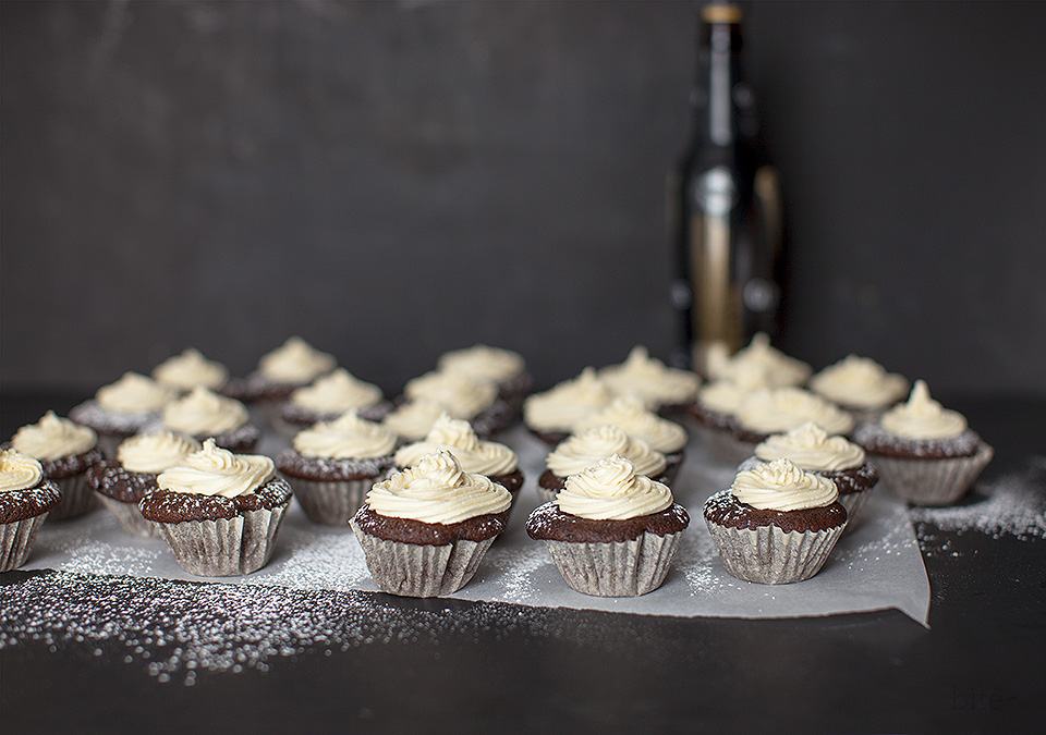 beer chocolate cupcakes with baileys frosting