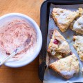 Rhubarb Scones with Strawberry Butter - bite