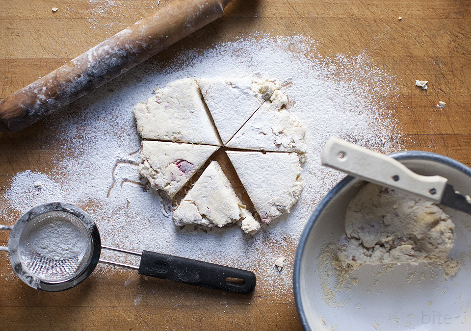 rhubarb scones with strawberry butter - bitebymichelle.com