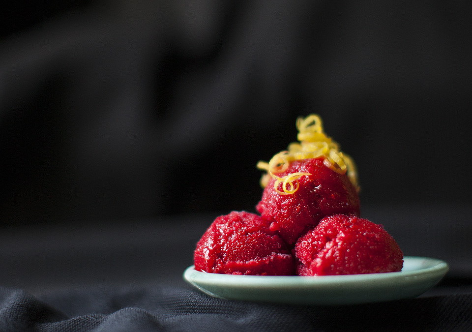 raspberry lemon sorbet – pucker up and enjoy local raspberries