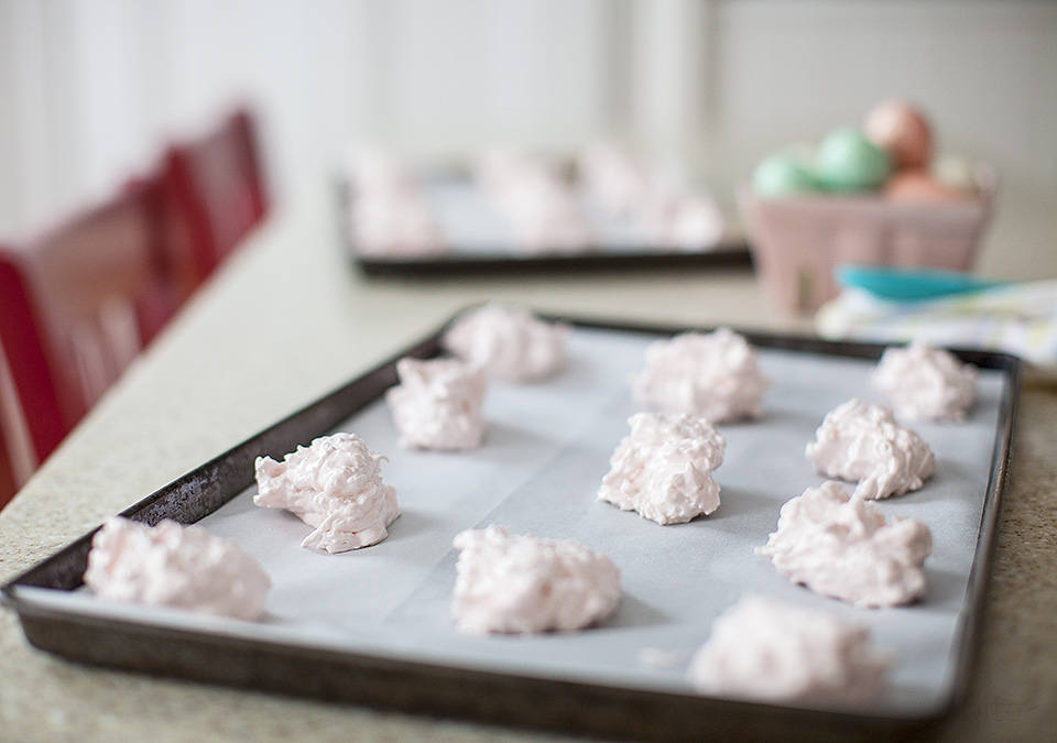 pink coconut meringues for Easter - bitebymichelle.com
