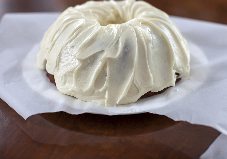 banana milk chocolate chunk cake with cream cheese icing