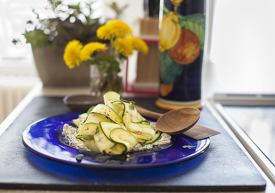 zucchini carpaccio with mascarpone and mint l bitebymichelle.com