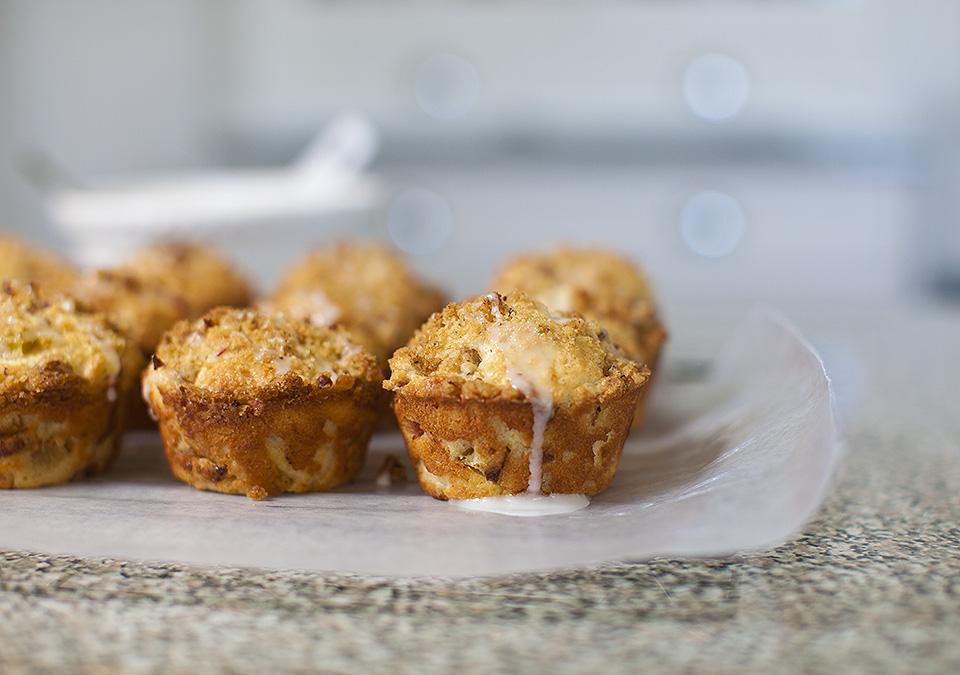 rhubarb streusel muffins with lemon glaze – freakin' awesome