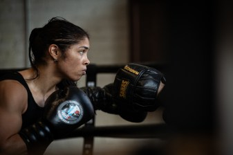 May 15, 2019; Chicago, IL; WBC super lightweight champion Jessica McCaskill works out at the Body Shot boxing gym in Chicago, IL in preparation for her upcoming bout against Anahi Esther Sanchez. Mandatory Credit: Lewis Ward/Matchroom Boxing USA