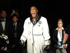 June 1, 2019; New York, NY; IBF, WBA, WBO and IBO heavyweight champion Anthony Joshua before his heavyweight championship bout at Madison Square Garden in New York City. Mandatory Credit: Ed Mulholland/Matchroom Boxing UK