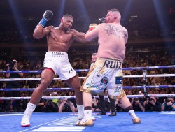 June 1, 2019; New York, NY; IBF, WBA, WBO and IBO heavyweight champion Anthony Joshua and Andy Ruiz during their heavyweight championship bout at Madison Square Garden in New York City. Mandatory Credit: Mark Robinson/Matchroom Boxing UK