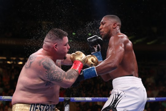 June 1, 2019; New York, NY; IBF, WBA, WBO and IBO heavyweight champion Anthony Joshua and Andy Ruiz during their heavyweight championship bout at Madison Square Garden in New York City. Mandatory Credit: Ed Mulholland/Matchroom Boxing UK