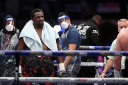 HANDOUT PICTURE COMPLIMENTS OF MATCHROOM BOXING Dillian Whyte vs Alexander Povetkin, WBC Diamond Belt Title fight. 22 August 2020 Picture By Mark Robinson. Dillian Whyte dejected after the conclusion.