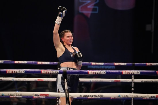 HANDOUT PICTURE COMPLIMENTS OF MATCHROOM BOXING Savannah Marshall vs Hannah Rankin, Vacant WBO Middleweight World Title Title. 31 October 2020 Picture By Dave Thompson. Savannah Marshall celebrates.