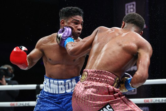 November 7, 2020; Hollywood, Florida; Devin Haney and Yuriorkis Gamboa during their bout on the November 7, 2020 Matchroom Boxing card in Hollywood, FL. Mandatory Credit: Ed Mulholland/Matchroom.