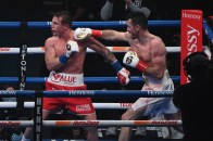 December 19, 2020; San Antonio, TX; Saul Alvarez and Callum Smith during their WBA, WBC and Ring Magazine super middleweight championship bout at the Alamodome in San Antonio, TX. Mandatory Credit: Al Powers/Matchroom.