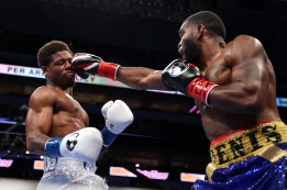 March 13, 2021; Dallas, TX; Austin Williams and Denis Douglin during their bout on fight night at the American Airlines Center in Dallas, TX. Mandatory Credit: Ed Mulholland/Matchroom.