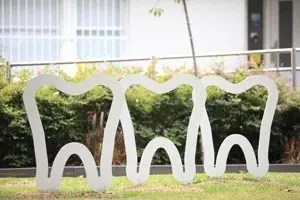 The sculptural bike racks outside Churchill Eco Dental Care are both pretty and practical.