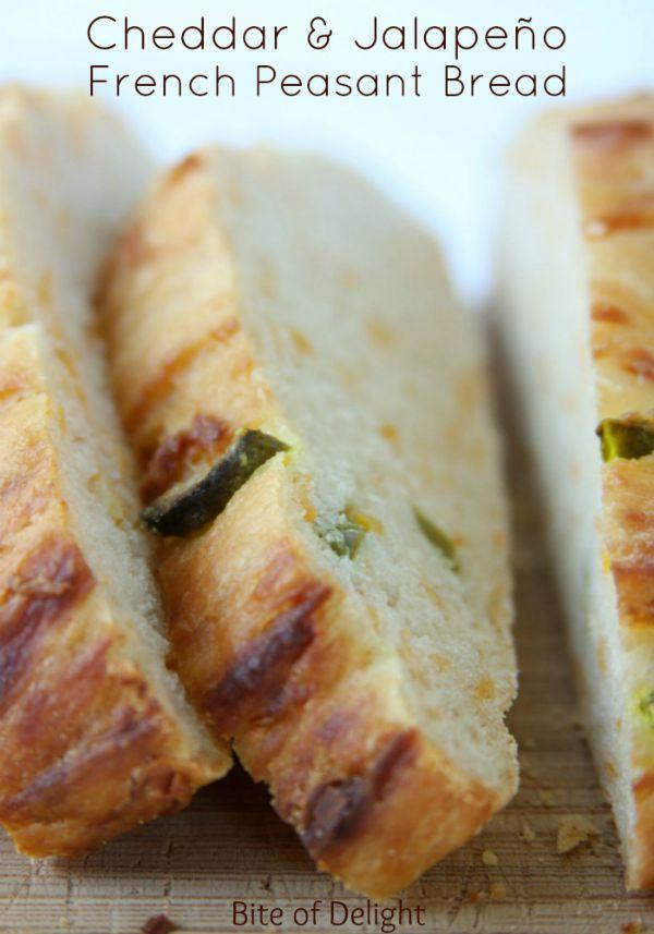 Cheddar Jalapeno French Peasant Bread | No Knead Bread Recipe