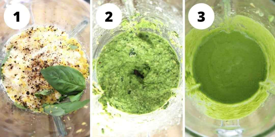 Three photos to show how to make the pesto in a blender