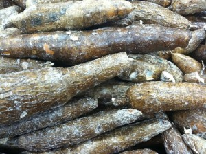 Boiled yuca with onions. View of yuca roots at the supermarket photo (2)