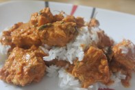 Chicken cooked with a cream-based curry gravy served with basmati rice.