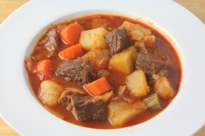 Beef goulash soup with potatoes, carrots, and celery.