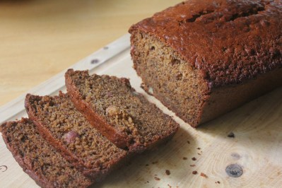 Banana bread flavoured with honey and sliced almonds.