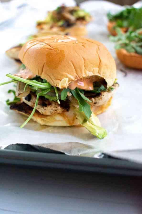 chicken sandwich close up on paper