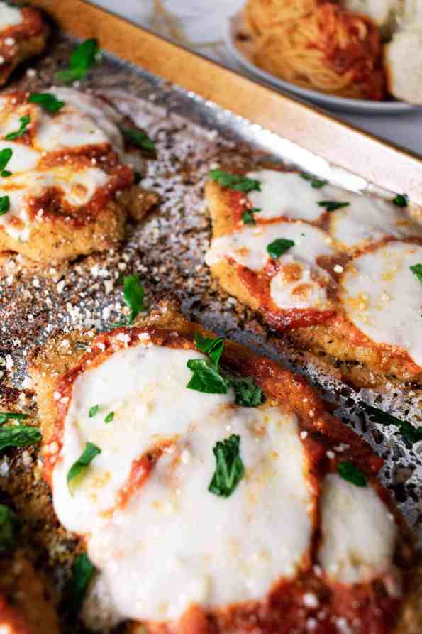 chicken parm cutlets on a tray