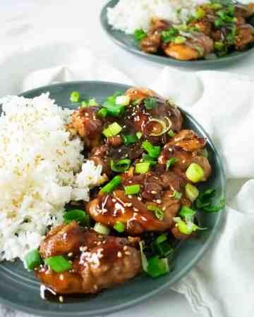 chicken on gray plate