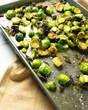 brussels sprouts on a baking sheet