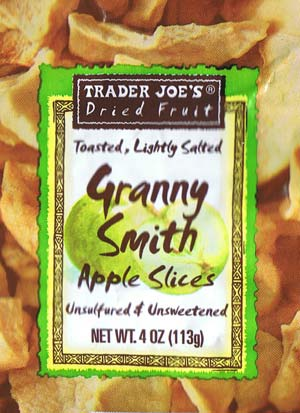 Trader Joe's dried fruit toasted, lightly salted Granny Smith Apple Slices unsulfered & unsweetened