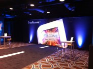 """ROOMWRAP KEDAR TOP AND BOTTOM CLAMPS ON PIPE AND BASE """"SOFTWARE AG"""" CORPORATE EVENT"""
