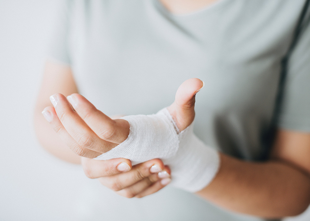 hand covered with gauze